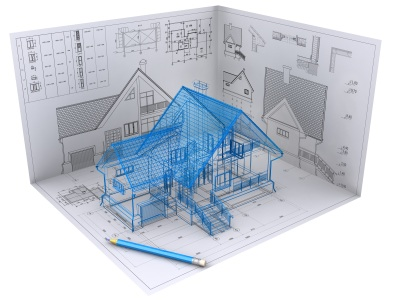 3d huis met tekening